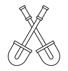 Two shovels icon outline style vector image
