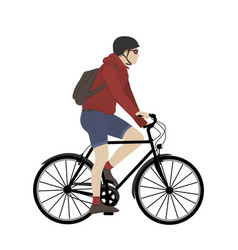 Urban city bicycle adult male commuter young man vector