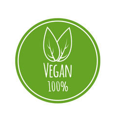 vegan logo round eco green logo vegan vector image
