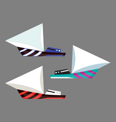 version sailing boat icons flat water vector image