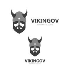 viking head logo design head warrior vector image