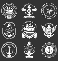 vintage retro nautical badges and labels vector image
