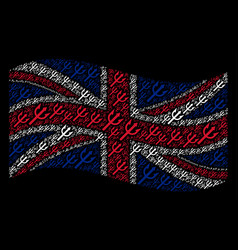 waving great britain flag pattern of trident fork vector image
