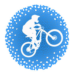 White silhouette of a cyclist on blue background vector
