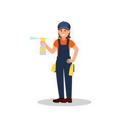 Woman cleaner with spray bottle of cleaning liquid vector