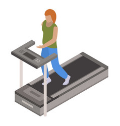 woman treadmill icon isometric style vector image