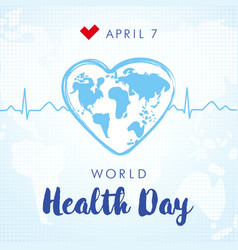 World health day lettering and heartbeat vector