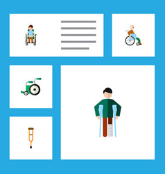 flat icon disabled set of injured handicapped man vector image vector image