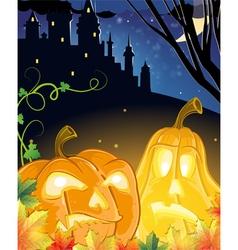Jack O Lanterns near the haunted castle vector image vector image