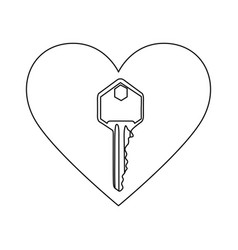 monochrome contour with heart frame with key vector image