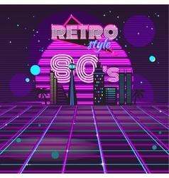 Retro style 80s disco design neon vector image vector image