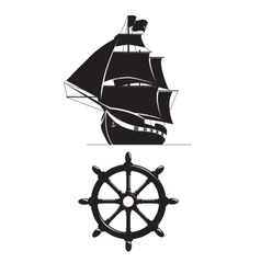 Sailing ship and steering wheel isolated on white vector