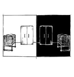 sketch children bedroom room front view on vector image