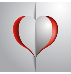 Valentines day red heart greeting paper card vector image