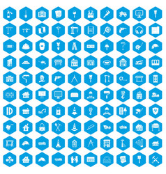 100 construction icons set blue vector