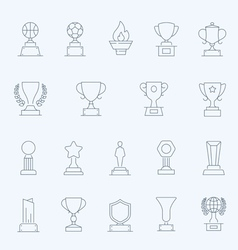 Trophy Awards thin outline stroke icons vector image