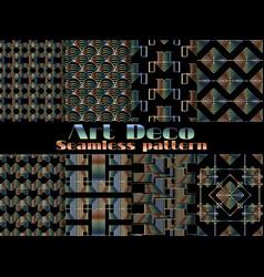 art deco seamless pattern set retro backgrounds vector image vector image
