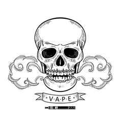 cartoon skull vaping isolated vector image vector image