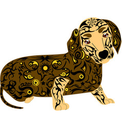 dog of breed a dachshund an animal with a pattern vector image vector image