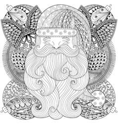 Fancy Santa on Christmas balls wreath in zentangle vector image vector image