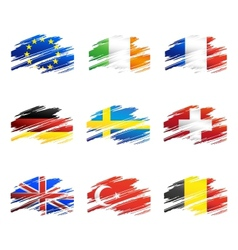 Flags in the form traces brush vector image
