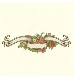 Retro-style coloured floral badge for your design vector image
