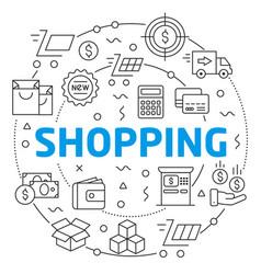 shopping linear vector image