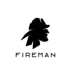 silhouette of fireman abstract design template vector image vector image