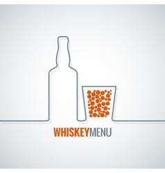 whiskey glass bottle line design background vector image vector image