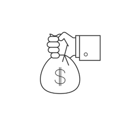 Hand with bag of money line icon vector image