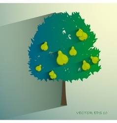 Pear tree isolated on light background vector