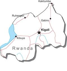 Rwanda Black White Map vector image