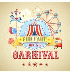 Vintage carnival poster vector image