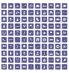 100 europe icons set grunge sapphire vector image