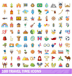 100 travel time icons set cartoon style vector