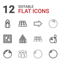 12 bowling icons vector