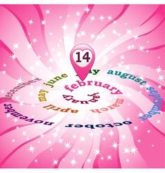 14 February on calendar vector