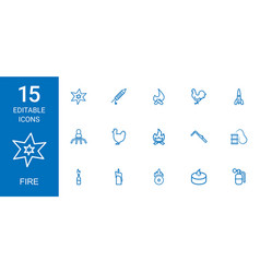 15 fire icons vector