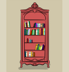 a large high cupboard of pink color with different vector image
