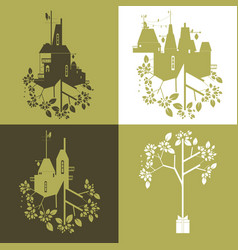 abstract and decorative set of eco industry and vector image