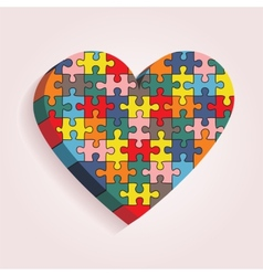 abstract heart made puzzle pieces vector image