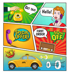 Advertising of taxi comic book page vector