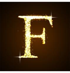 Alphabets F of gold glittering stars vector
