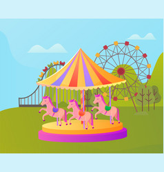 amusement park carousel with pony entertainment vector image
