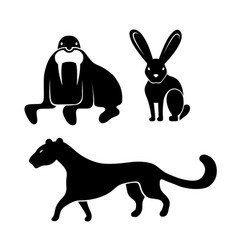 animals icon set vector image