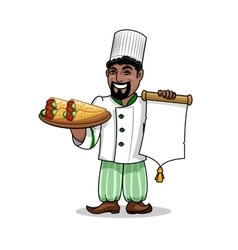 Arabian restaurant Chef with menu and pita kebab vector image