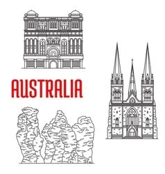 Australian travel landmarks thin line style vector