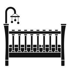Baby crib icon simple style vector