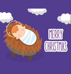 Bajesus in crib sky manger nativity merry vector