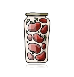 Bank of pickled tomatos sketch for your design vector image